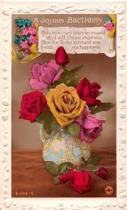 A Joyous Birthday, little card, truest way I wish you happiness, roses, vase