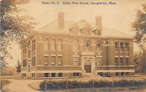 Georgetown MA Perley Free School 1917 RPPC Postcard