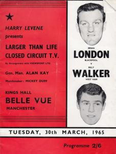 Billy Walker vs Brian London Manchester Boxing Theatre 1965 Sports Programme