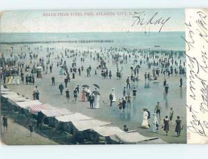 Pre-1907 BEACH SCENE Atlantic City New Jersey NJ A3646