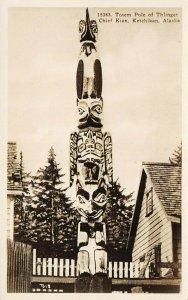 LP05 Ketchikan  Alaska Postcard Totem Pole Thinget RPPC