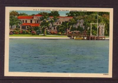 Florida colour PC Cove hotel Right on the Bay Panama City, Fla, unused
