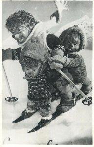 Postcard Greetings fantasy ski winter snow humanized
