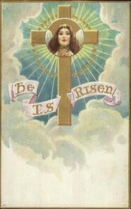 Easter - Angel Face Gold Cross c1910 Embossed Postcard