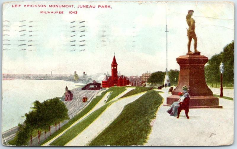 Milwaukee, Wisconsin Postcard Leif Erickson Monument, Juneau Park 1912 Cancel