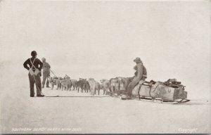 Antarctic Shackleton Expedition 1907 Southern Depot Party w/ Dogs Postcard E70