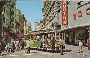 California San Francisco Cable Car On Turntable Woolworth