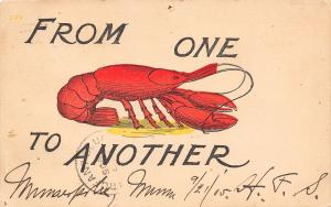 Comic Pun~From One Lobster to Another~Bright Red Crustacean~1905 Postcard