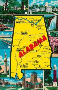 Alabama AL Map Card, Chrome