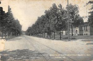 Elkhart Indiana~Middlebury Street West @ Prairie~Trolley Tracks Down Center~1909
