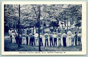 Newton Hamilton PA~Methodist Training Camp~Morning Worship Outside~c1950 B&W