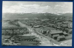 Leadville Colorado co air view Mt Massive in background real photo postcard RPPC