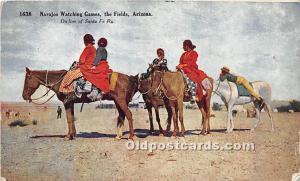 Navajos Watching Games, The Fields On line of Santa Fe Ry, Arizona, AZ, USA P...