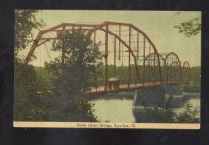 LYNDON ILLINOIS ROCK RIVER BRIDGE VINTAGE POSTCARD