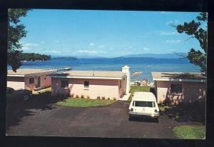 Gilford, New Hampshire/NH Postcard, Silver Sands Motel, Beach Cottages & Marina