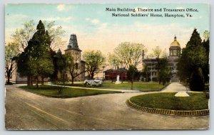 Hampton Virginia~National Soldiers' Home~Main Building-Theatre-Treasurer~1914