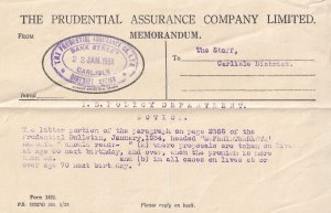 Prudential Insurance Welsh Carlisle 1934 Age Division OAP Receipt