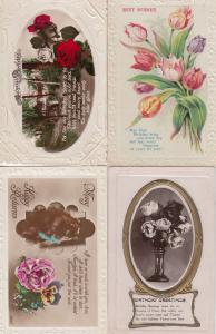 Birthday Raised 3D Mirror 4x Antique Character Greetings Postcard s