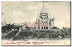 Postcard Old Paris Basilique du Sacre Coeur in Montmartre Funicular