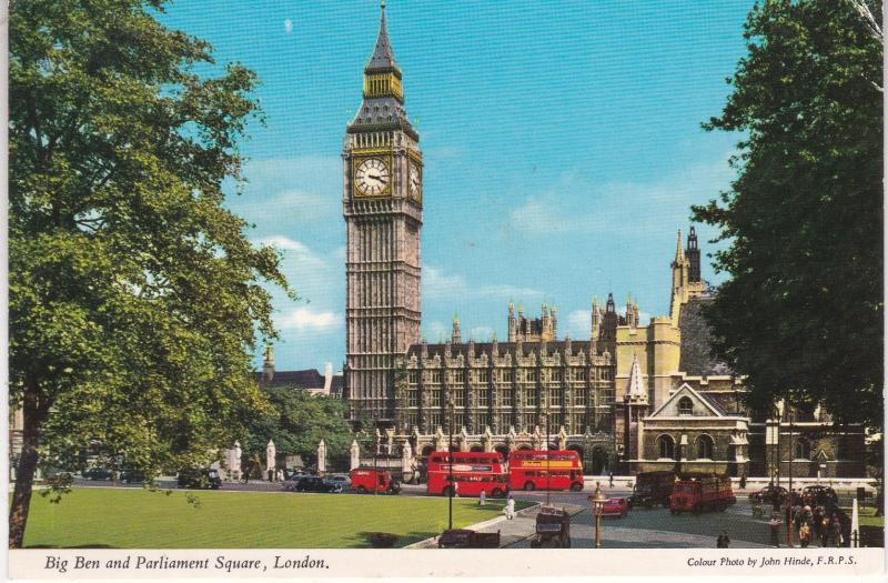 Postcard London Big Ben and Parliament Square