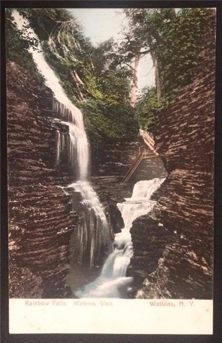 Rainbow Falls, Watkins Glen, Watkins, N.Y. Undivided Back, Rochester News 6549