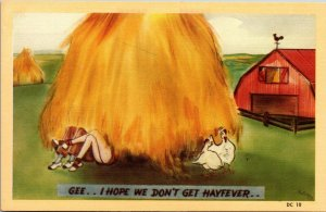 1940s RISQUE POSTCARD GEE...I HOPE WE DON'T GET HAYFEVER - LOVERS IN HAYSTACK