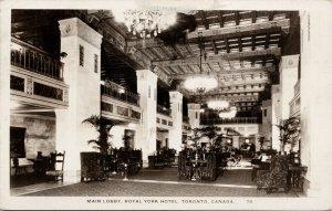 Main Lobby Royal York Hotel Toronto Ontario ON c1930s RPPC Postcard F35