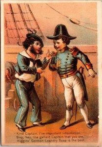 Kind Captain Sailor Children Ship Higgin's German Laundry Soap Victorian Card