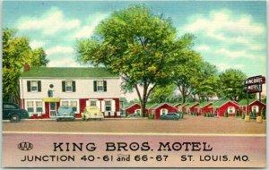 ST. LOUIS, Missouri ROUTE 66 Roadside Postcard KING BROS. MOTEL Linen c1940s