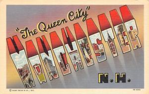 Manchester New Hampshire~Large Letter Linen Postcard~Shadows~Downtown~Bridge~'44