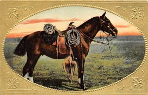 Horse Post Card Horse and Saddle Unused