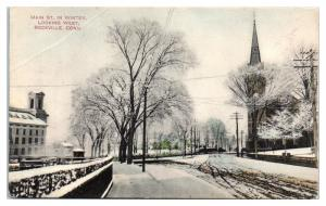 Early 1900s Main St. in Winter looking West, Rockville, CT Hand-Colored Postcard