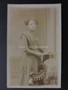 Studio Portrait of Young Lady (Kate Dimler ?) Old RP Postcard by BOYDS of London