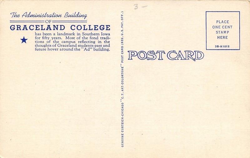 Lamoni Iowa~RLDS Graceland College~Administration Building~1943 Linen Postcard