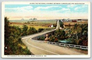 Frederick Maryland~Old Jug Itself Bridge on National Highway~Farms~1920s PC
