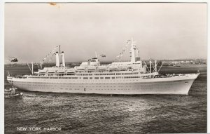 Shipping; Holland Amerika Line SS Rotterdam When New RP PPC, Unused, c 1950's