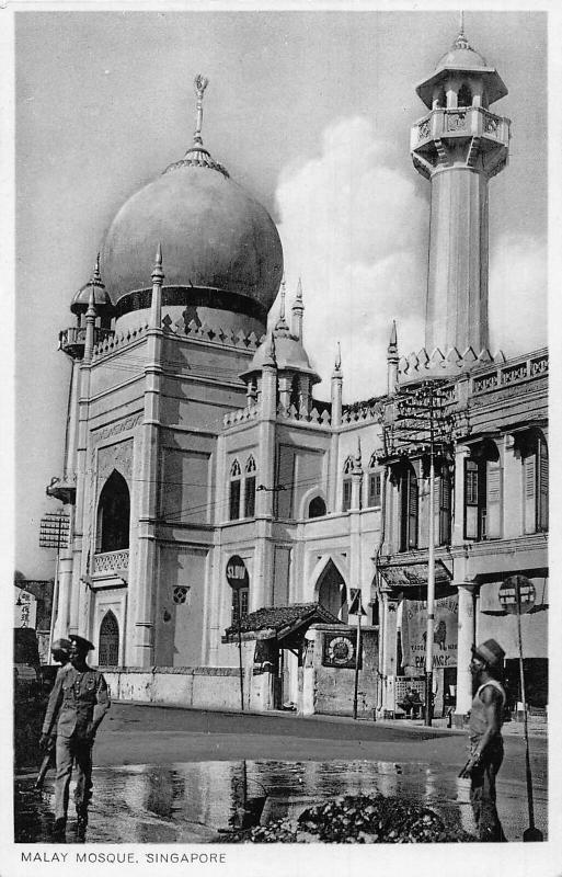 Singapore Malay Mosque Tower Police On Street Postcard