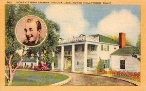 HOME OF BING CROSBY Toluca Lake, North Hollywood, CA c1940s Vintage Postcard