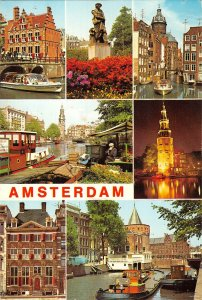 B109126 Netherlands Amsterdam Holland Town Hall River Boats Tower Statue