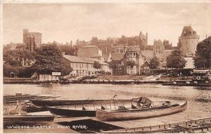 WINDSOR CASTLE BERKSHIRE UK FROM RIVER THAMES~PUNTS & CANOES POSTCARD 1920s