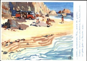 Volkswagen VW Bus on Beach c1950s-60s Advert Postcard