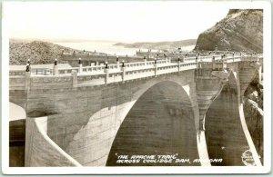 1940 Arizona RPPC Photo Postcard APACHE TRAIL Across Coolidge Dam Frasher