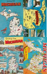 Michigan Greetings From 4x Map Postcard s