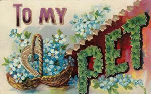To My Pet, 1900-10s; Embossed blue flowers in basket, gold horseshoe