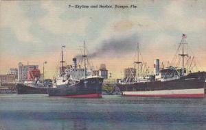Florida Tampa Skyline And Harbor 1949