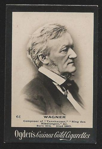 Ogden's Guinea Gold WAGNER Cigarettes Card. Few small faults