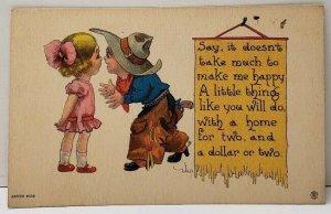 Bernhardt Wall Adorable Little Cowboy Sweet on a Pretty little Girl Postcard E17