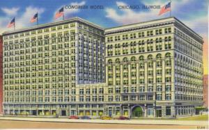 Congress Hotel ~ Chicago Illinois IL ~ Vintage Linen Postcard