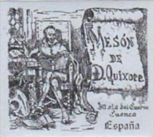 SPAIN CUENCA MESON DE DON QUIXOTE VINTAGE LUGGAGE LABEL