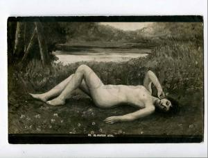 261188 Russia COLLIN Nude girl On a hot day 1909 year RPPC